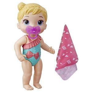 عروسک بیبی الایو مدل حمام لباس سبز