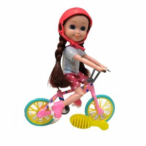 عروسک بچه باربی مفصلی با دوچرخه